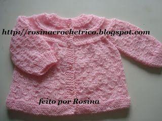 Casaquinho Em Tricô Rosa Com Ponto Abacaxi | Trico, Receitas