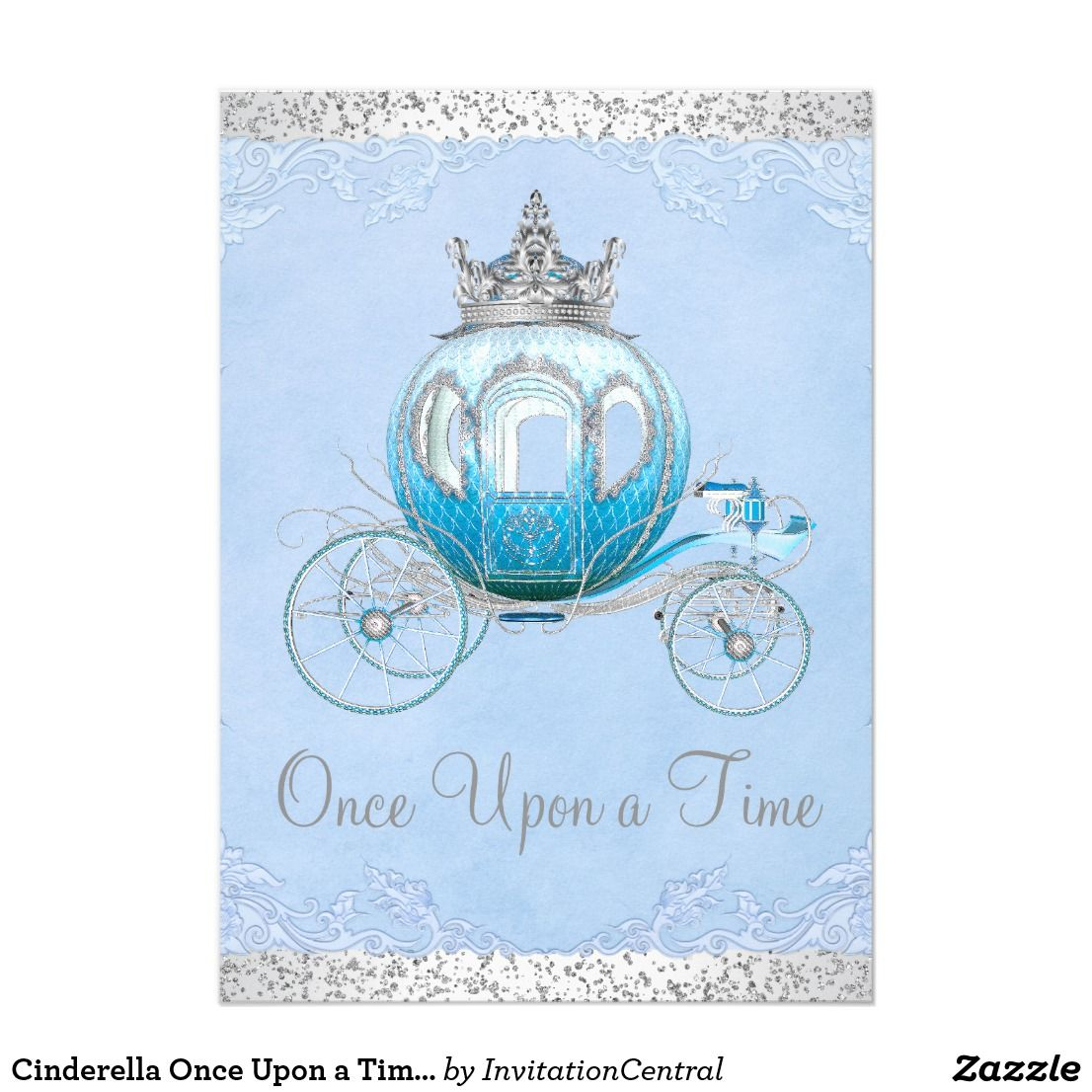Cinderella once upon a time princess birthday card cinderella cinderella once upon a time princess birthday card cinderella birthday party invitation with fancy baby blue bookmarktalkfo Gallery