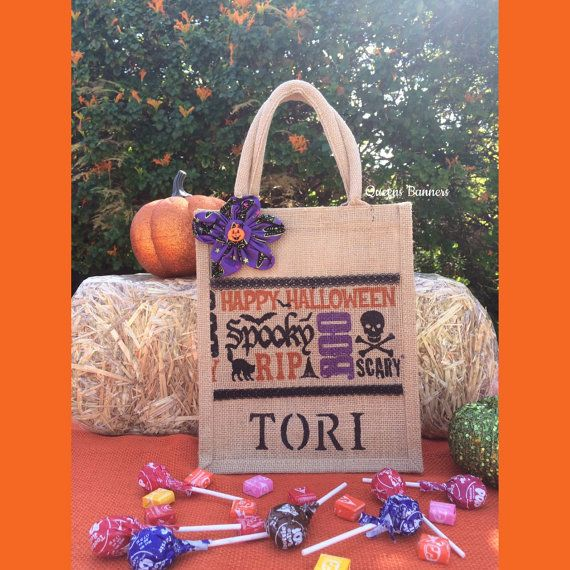 Personalized Halloween Tote Halloween Tote Trick by QueensBanners - decorate halloween bags