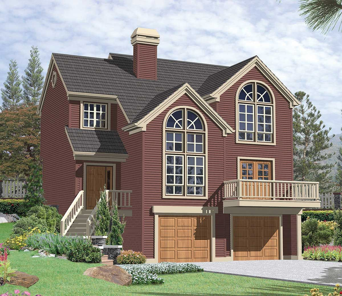 Multi-Level Sloping Lot Plan | Colonial house plans ...