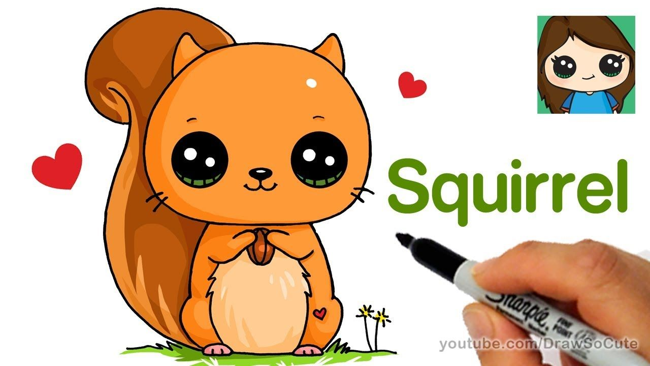 How To Draw A Squirrel Easy Youtube Kawaii Girl Drawings Cute Animal Drawings Kawaii Kawaii Drawings