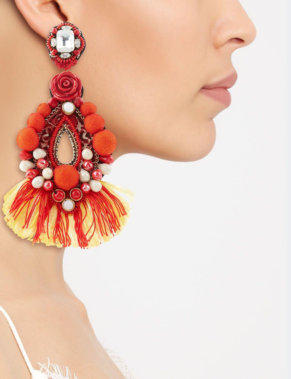 Red Drop Beaded Clip-On Earrings