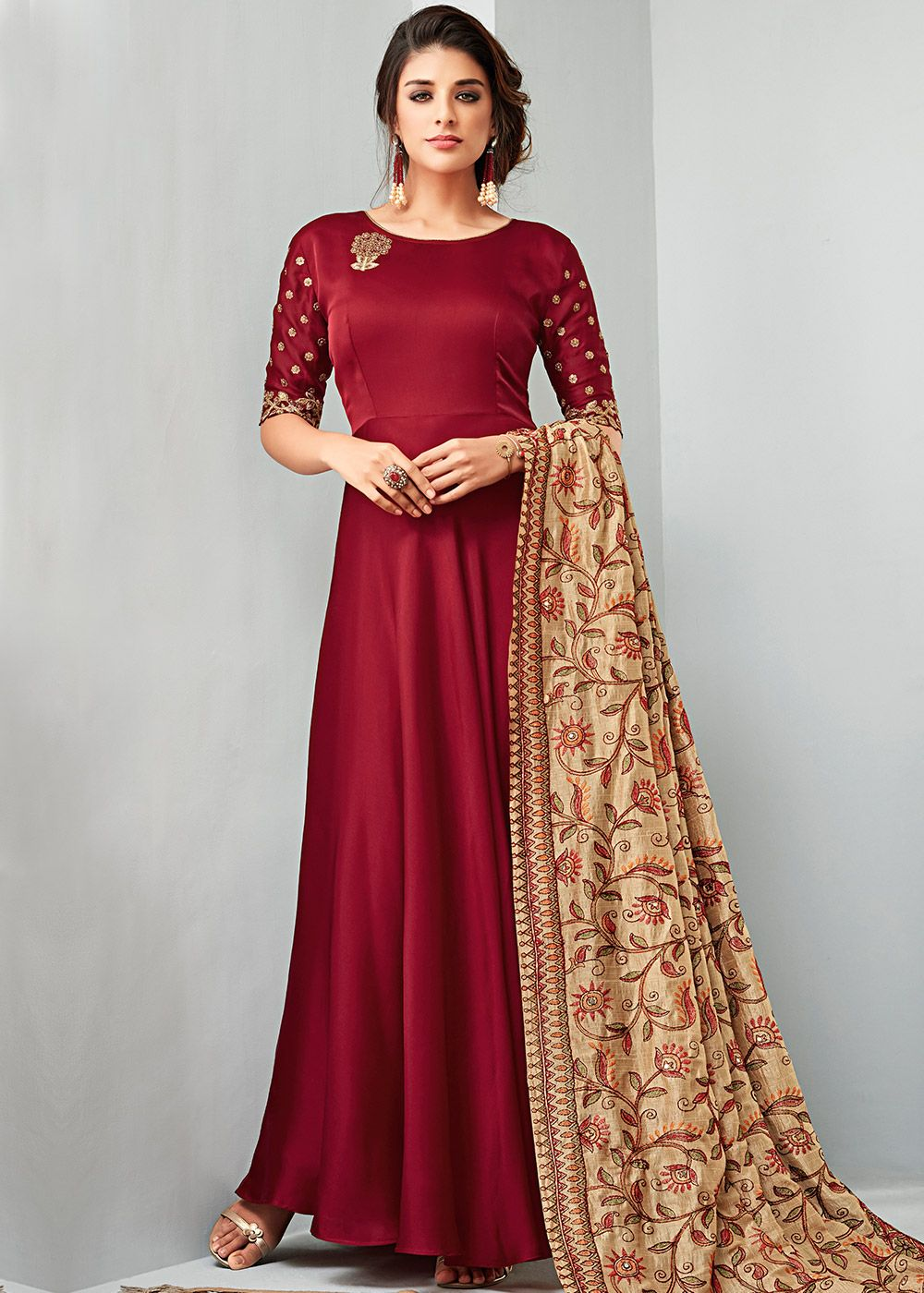 da511bd3b3 ... maroon georgette satin flared kameez crafted with minimal zari  embroidery and stone work. Also comes with beige art silk thread embroidered  dupatta.
