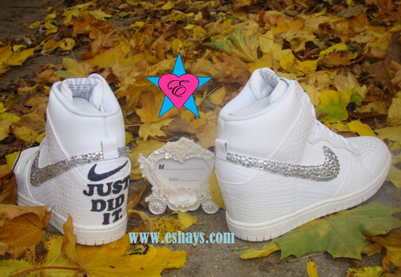 Wedding Sneakers Wedding White Crystal Nike Sky High Dunks Croc Just Did It  on sale today 29522f683