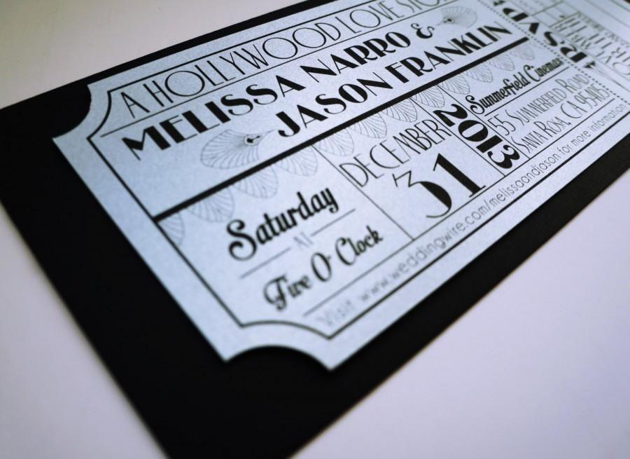 Old Hollywood, Art Deco, Silver Movie Ticket Wedding Invitation ...