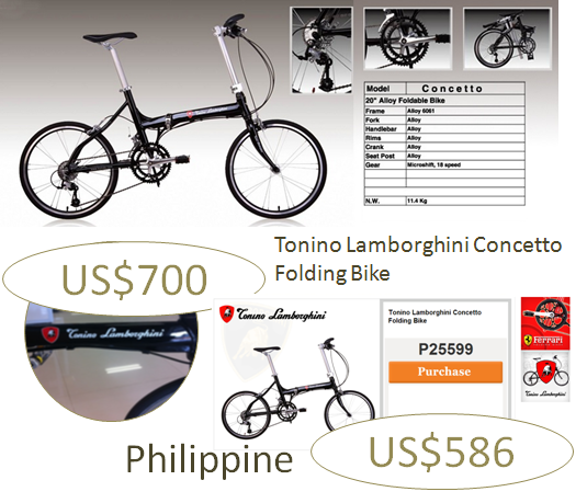 Tonino Lamborghini Concetto Folding Bike. Price Comparison