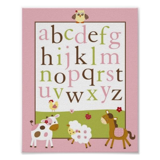 Abby S Farm Animal Alphabet Nursery Wall Art Print Zazzle Com Animal Alphabet Nursery Alphabet Wall Art Nursery Nursery Wall Art