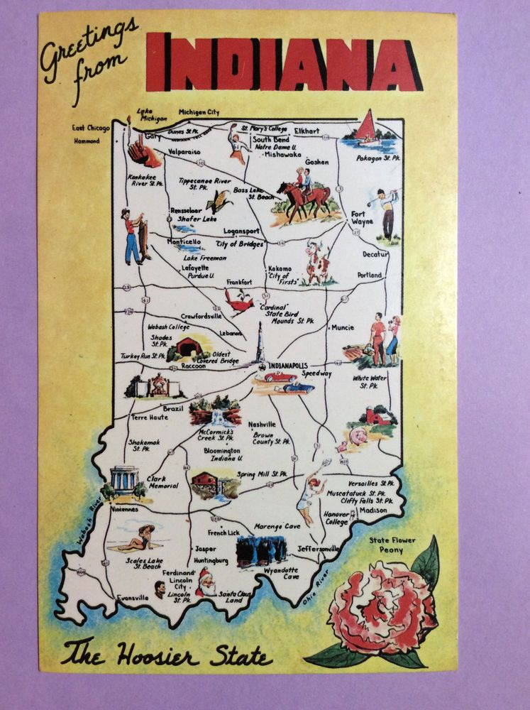 Greetings From Indiana The Hoosier State Map Cities Vintage Postcard