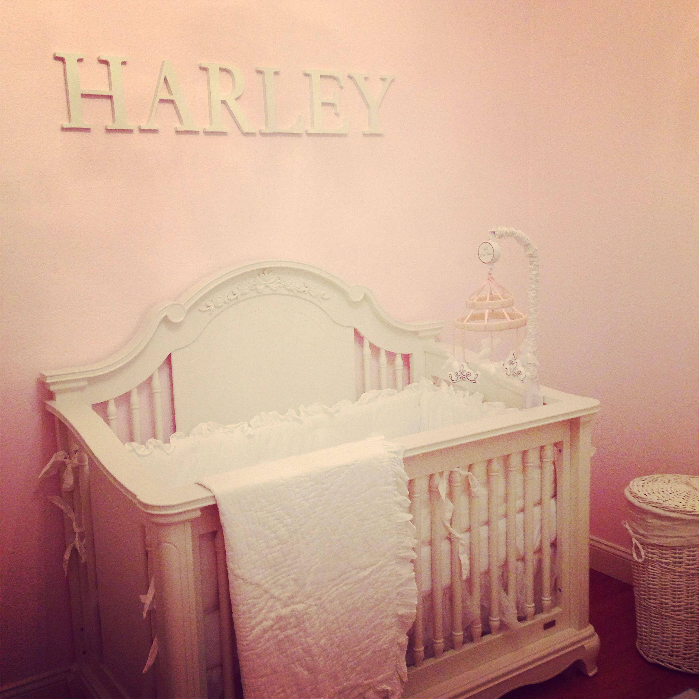 Pink And White Baby Girl Nursery. Pottery Barn Bedding And Letters, Poetic  Princess Paint