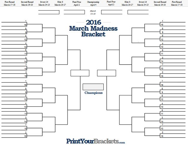 March Madness Bracket Creator  Work Stuff    Teen Programs
