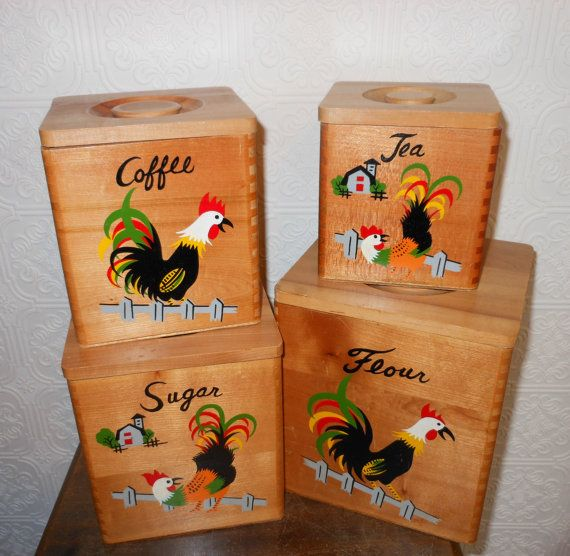 1950s Kitchen Wooden Canister Set Rooster