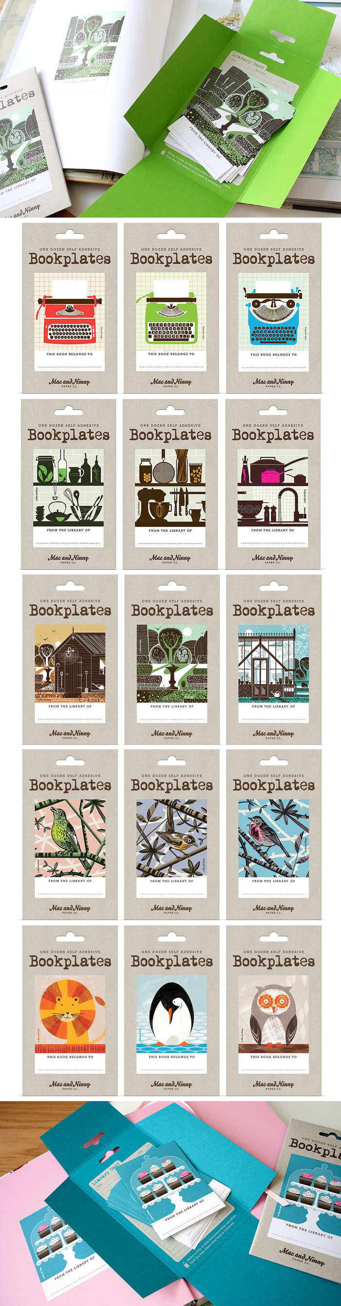 Mac & Ninny bookplates nice colours and illustrations
