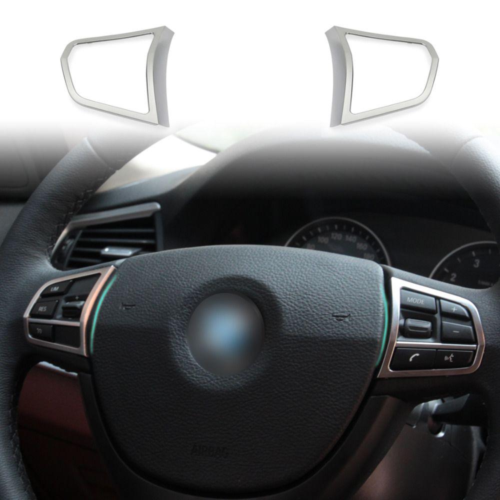 New Sliver Matt Chrome Steering Wheel Switch Cover Molding Trim
