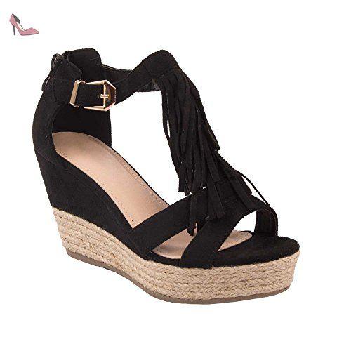 3982fe67a6b Sandale noir strass femme grande taille pointure 41 à 44 avec chaîne doré   motif  fantaisie-42 - Chaussures primtex ( Partner-Lin…