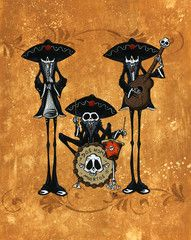 skeleton mariachi! Something like this would look fantastic in my kitchen!