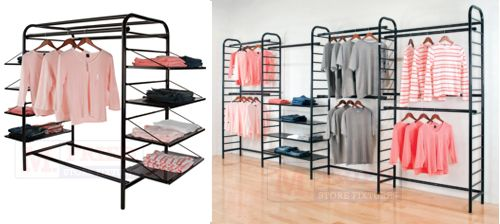 The Ladder clothing rack display system offers you extreme versatility with terrific merchandising techniques to suit the needs of any clothing department, from hangrails to shelves, or a combination of both.