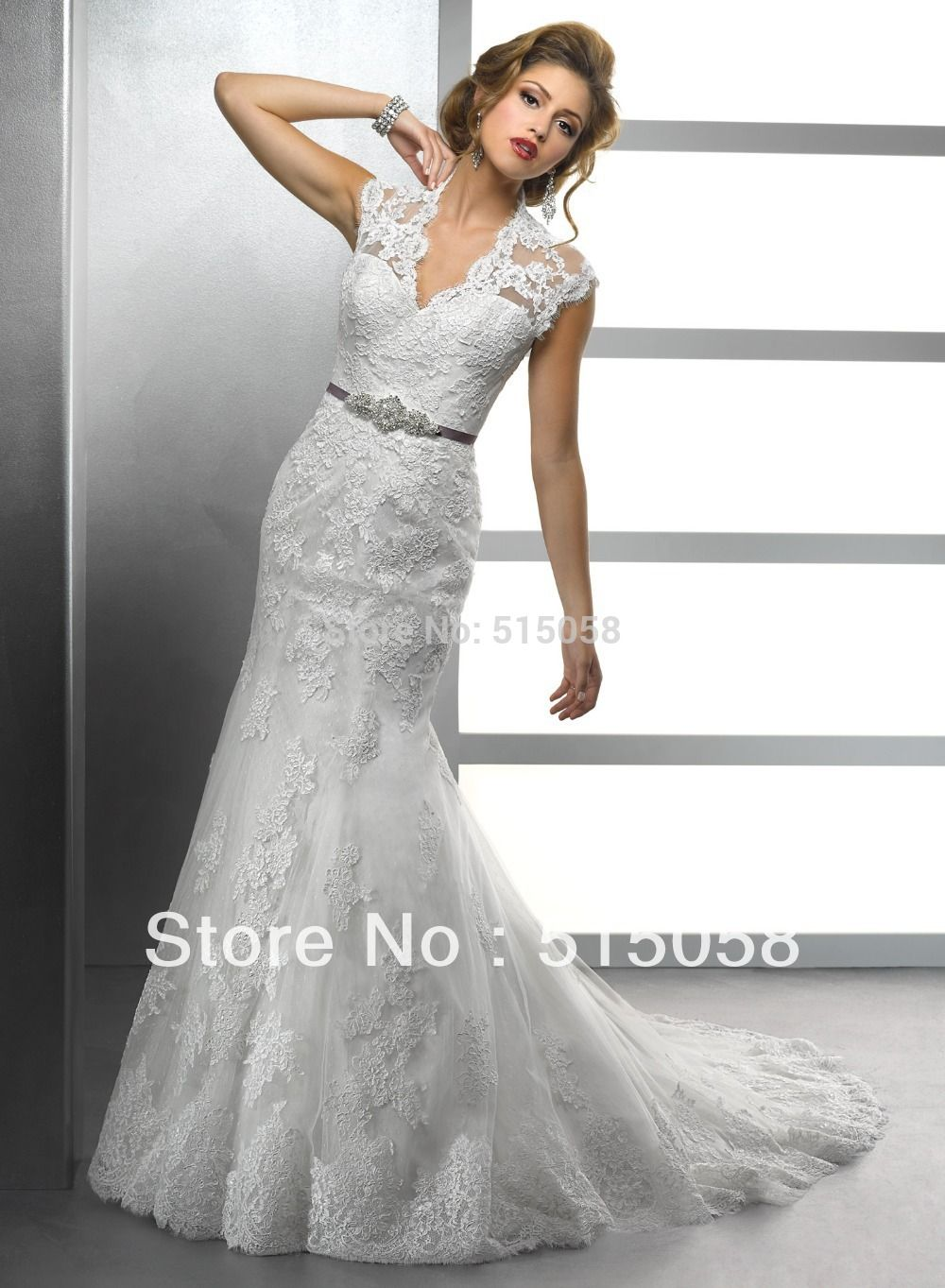 Find more wedding dresses information about elegant lace sheath cap