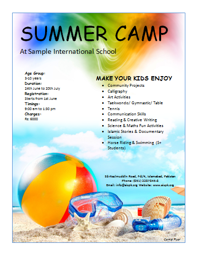 Free Smmer Camp Flyer  Summer Camp    Free Summer