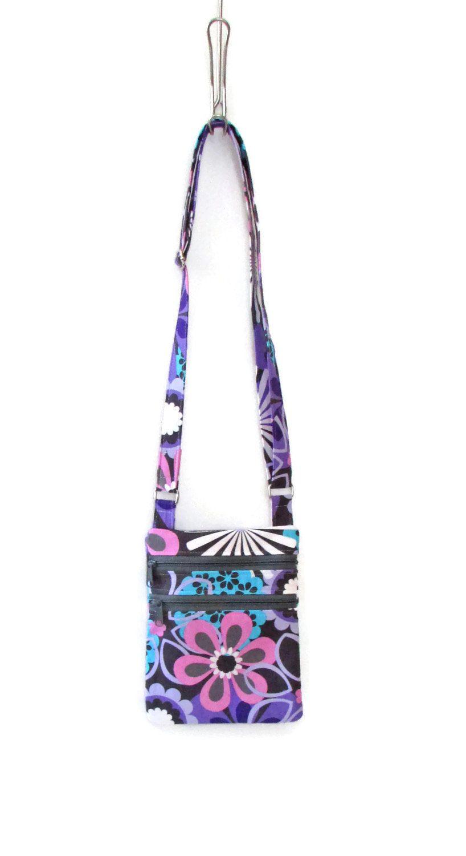 Crossbody Purse Cross Body Bag Fabric Purse Purple And Pink