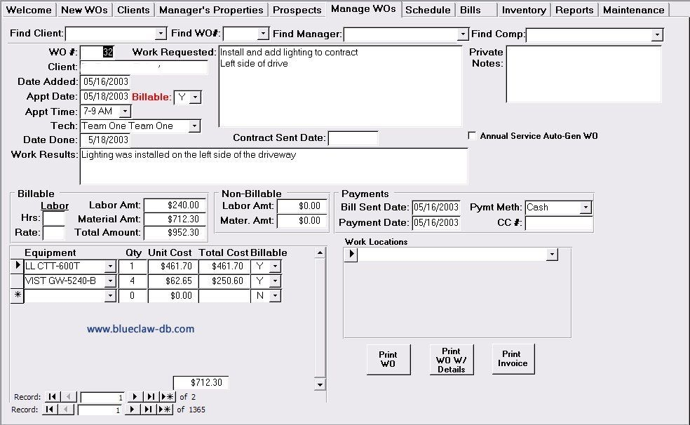 Above is a screen shot of a service work order management template - plain invoice template