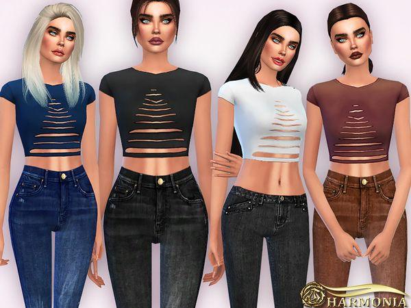 Harmonia's Ripped Shortsleeve Crop T Shirt | Sims 4 CC