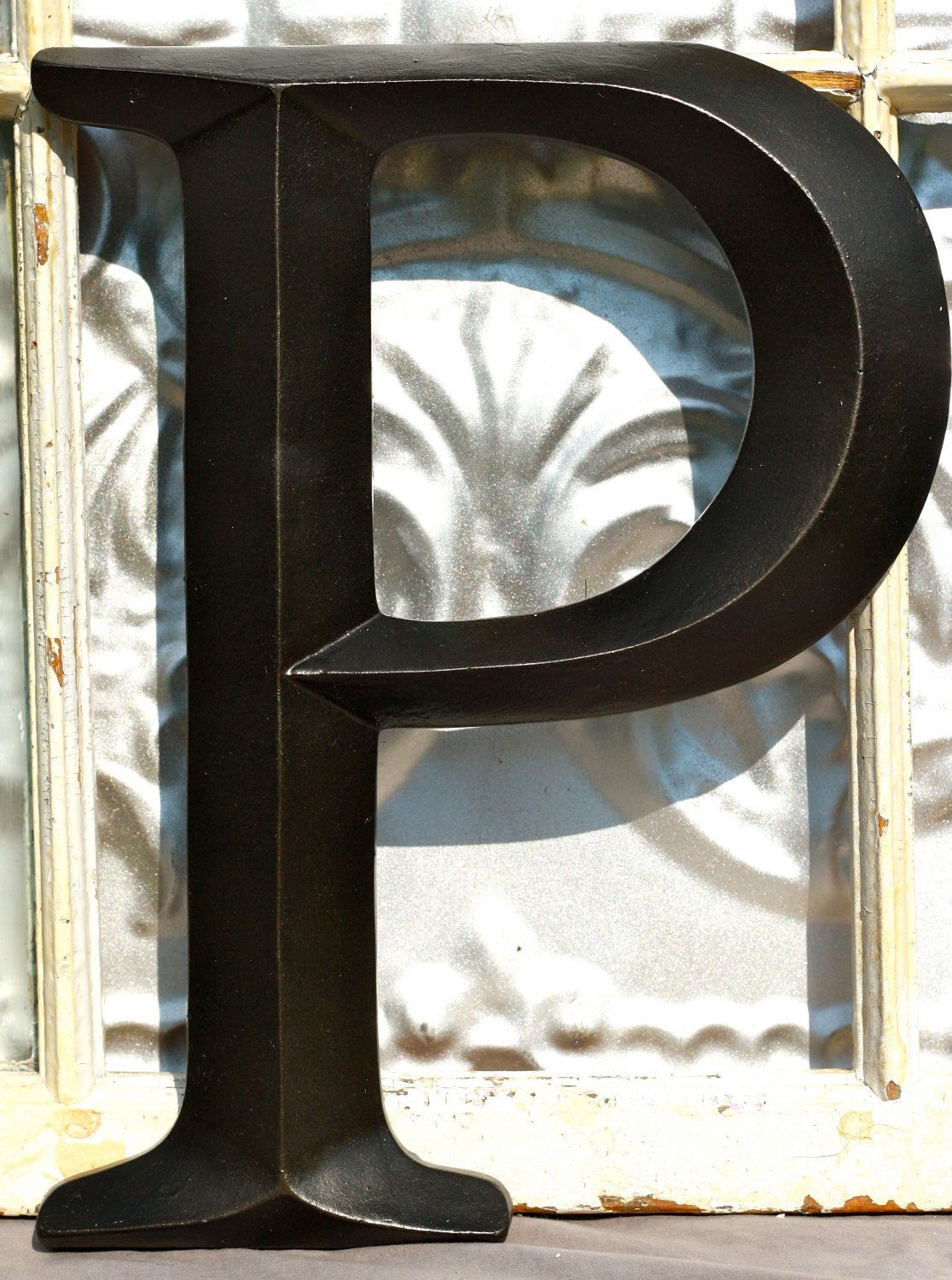 Large Letter P Sign Wall Decor Oil Rubbed Bronze Initial Wedding Photo Booth Nursery Mantel Urban 24 95 Via Etsy