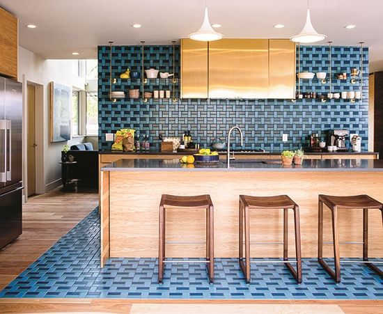 Tile And Decor Denver Sunset Idea House Kitchen With Geometric Teal And Blue Tile