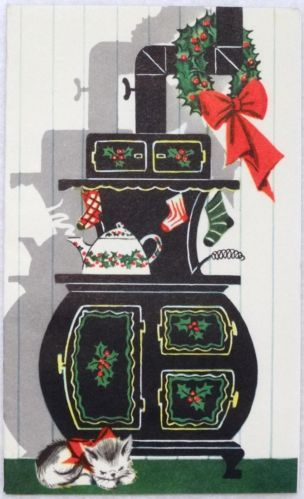 50s Kitty Cat Sleeps by the Stove-Vintage Christmas  Card