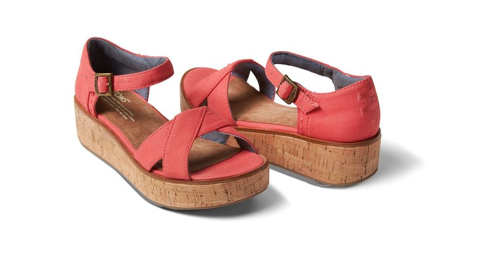 4a8f7b1cb47 TOMS Coral Canvas Women s Harper Wedge by TOMS