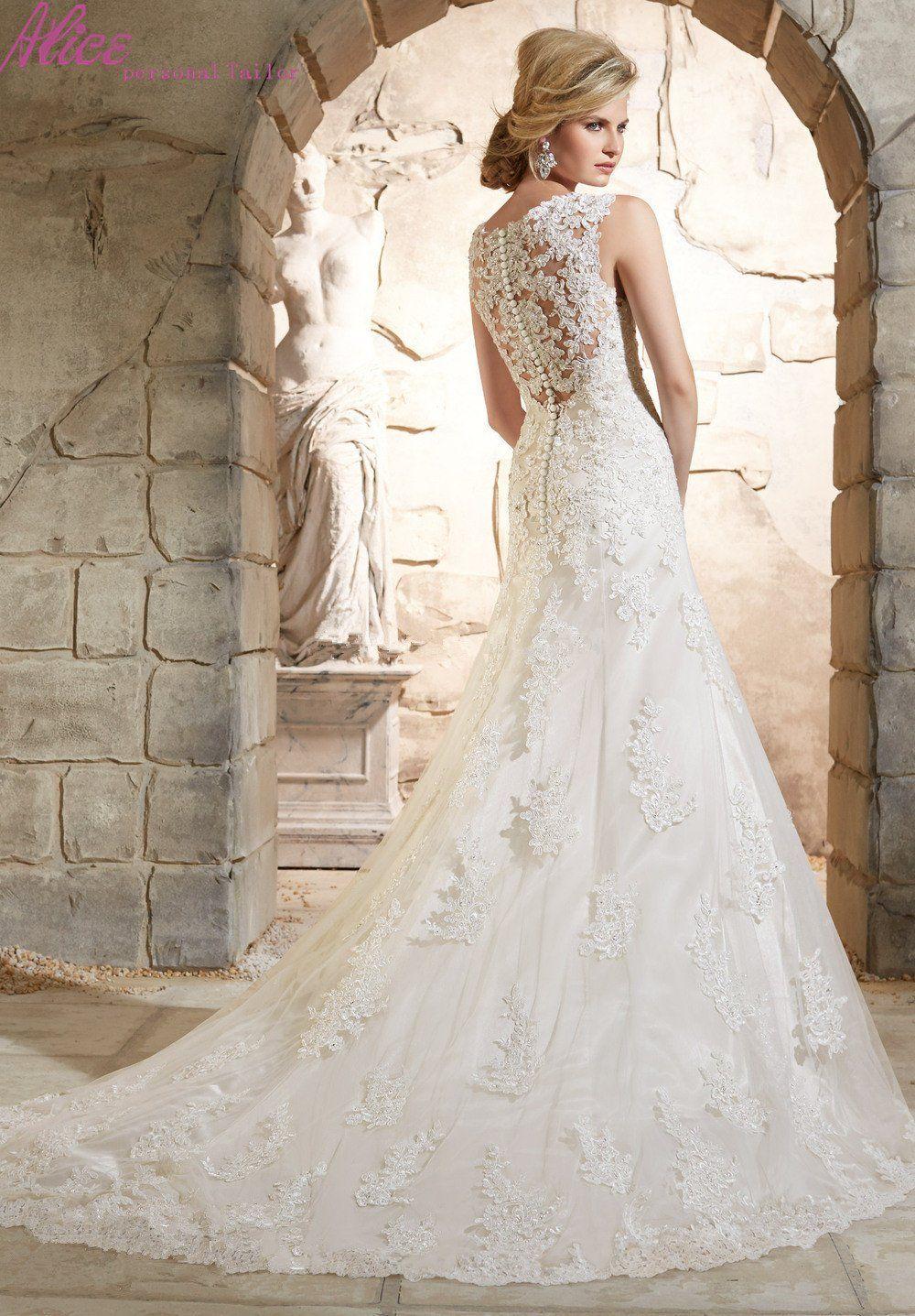 New arrival sheath lace wedding dress v neck cap sleeves long