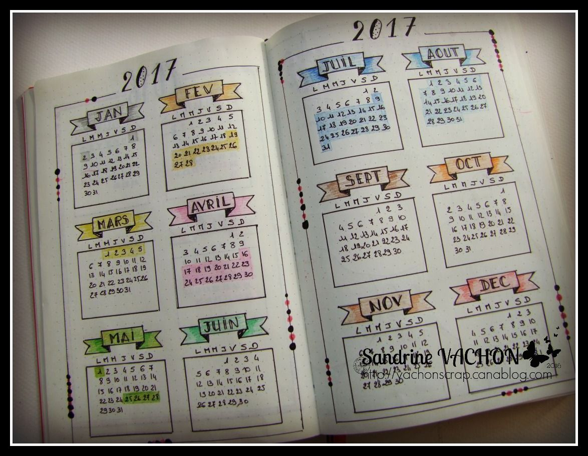 page calendrier 2017 sandrine vachon bullet journal. Black Bedroom Furniture Sets. Home Design Ideas