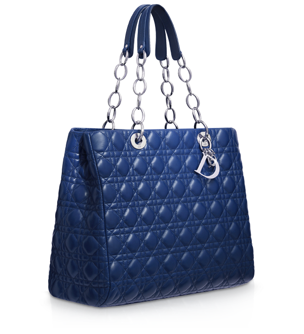 Large blue leather Dior Soft shopping bag