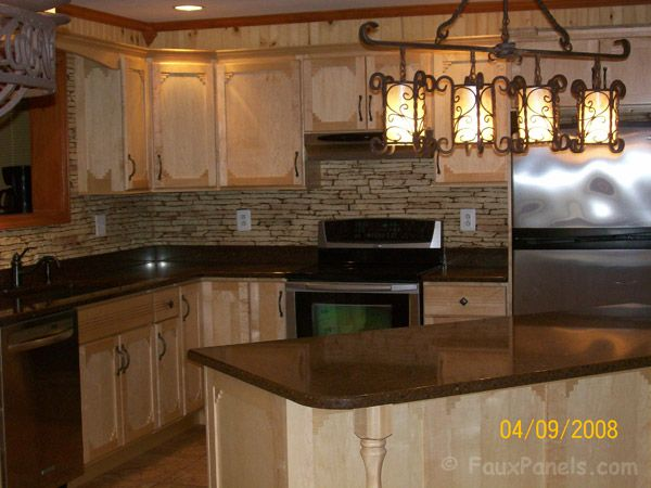 Faux stone kitchen back splash. I also want the outer side of the island  done like this with the same stone colour to match.