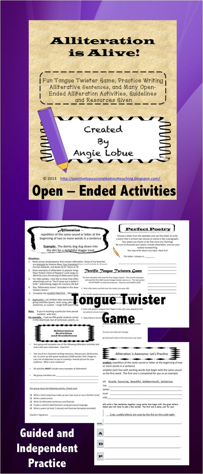 Alliteration Activities And Game Tongue Twisters Alliteration Activities Alliteration Elementary Writing