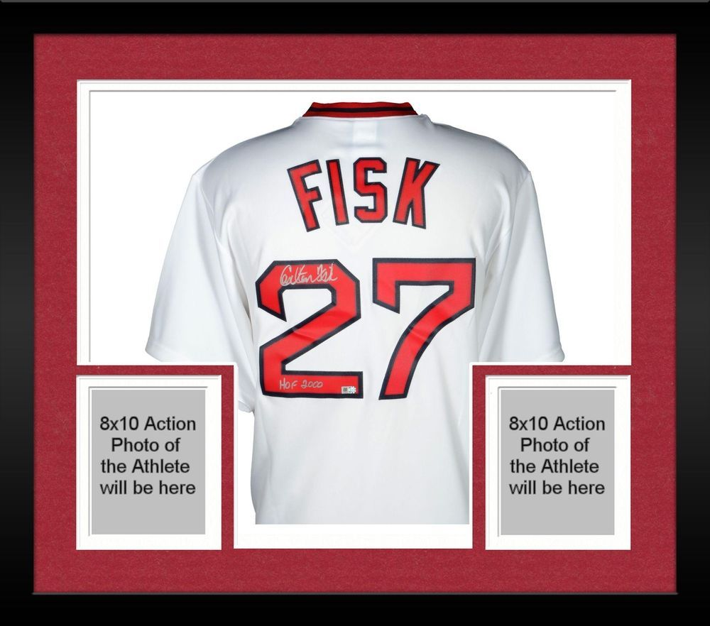 c070e4a03 Framed Carlton Fisk Boston Red Sox Signed Throwback Red Jersey & HOF 2000  Insc #Baseball