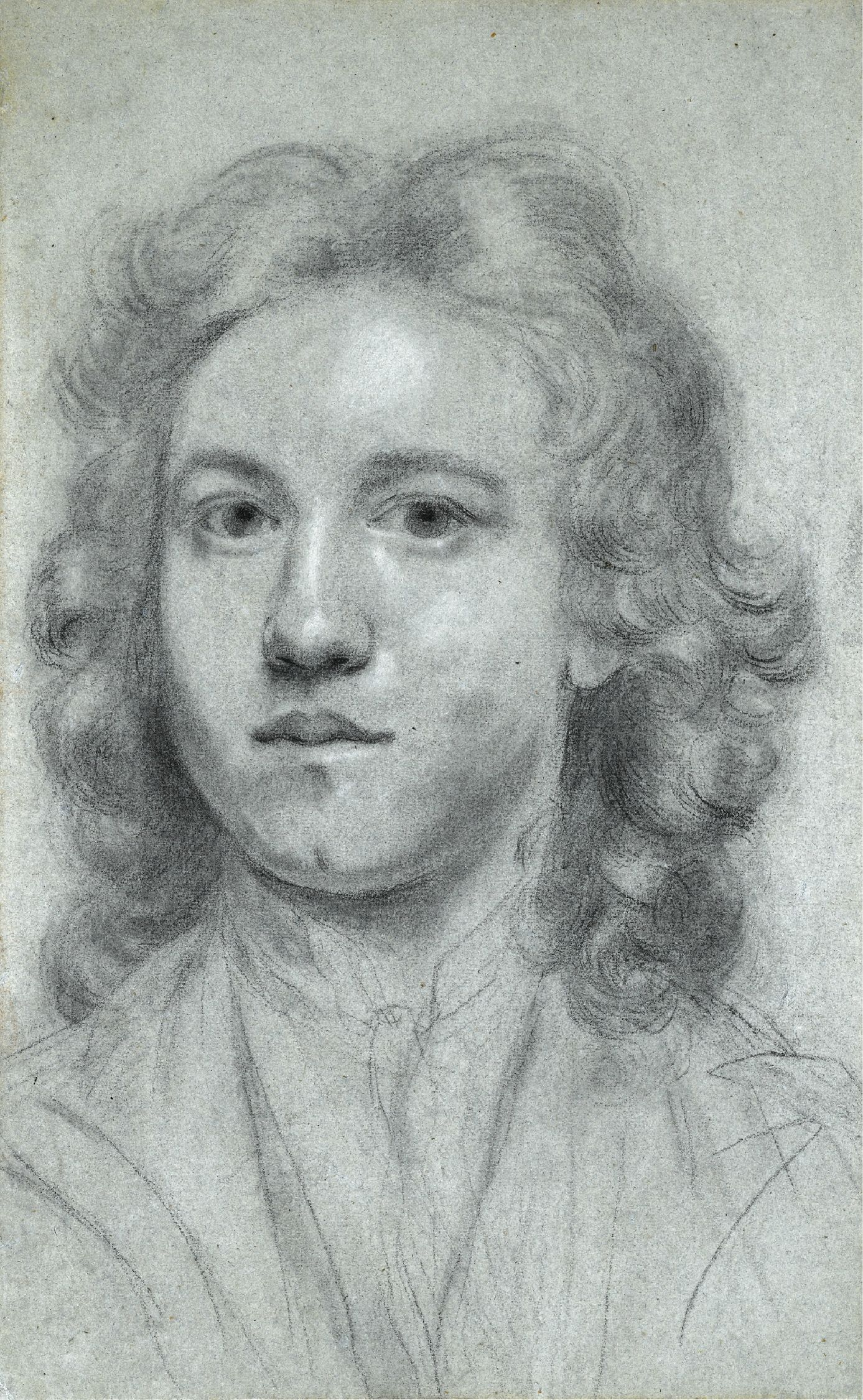 Joshua Reynolds, Self-portrait at the age of seventeen, 1740, black and white chalk and stump, on buff laid paper, 41,5 x 26 cm, Private collection