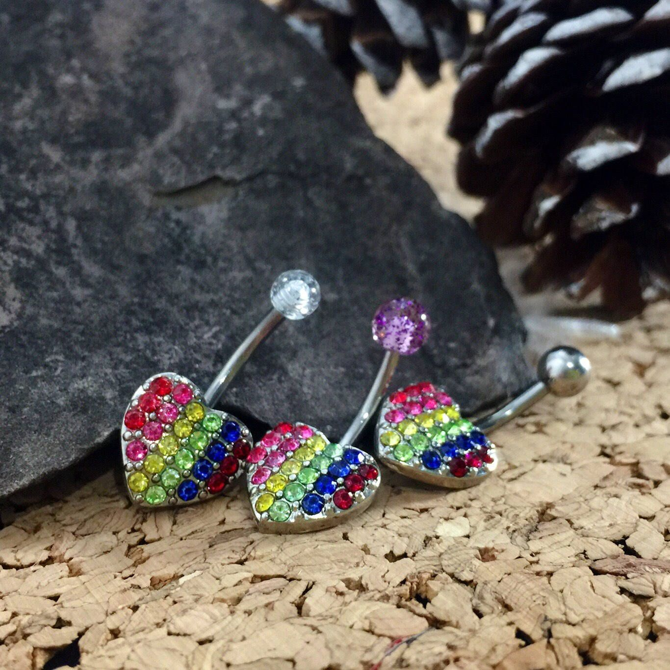 Navel piercing ideas  Rainbow Dreams Belly Button Jewelry Navel Piercing Boho Belly Rings