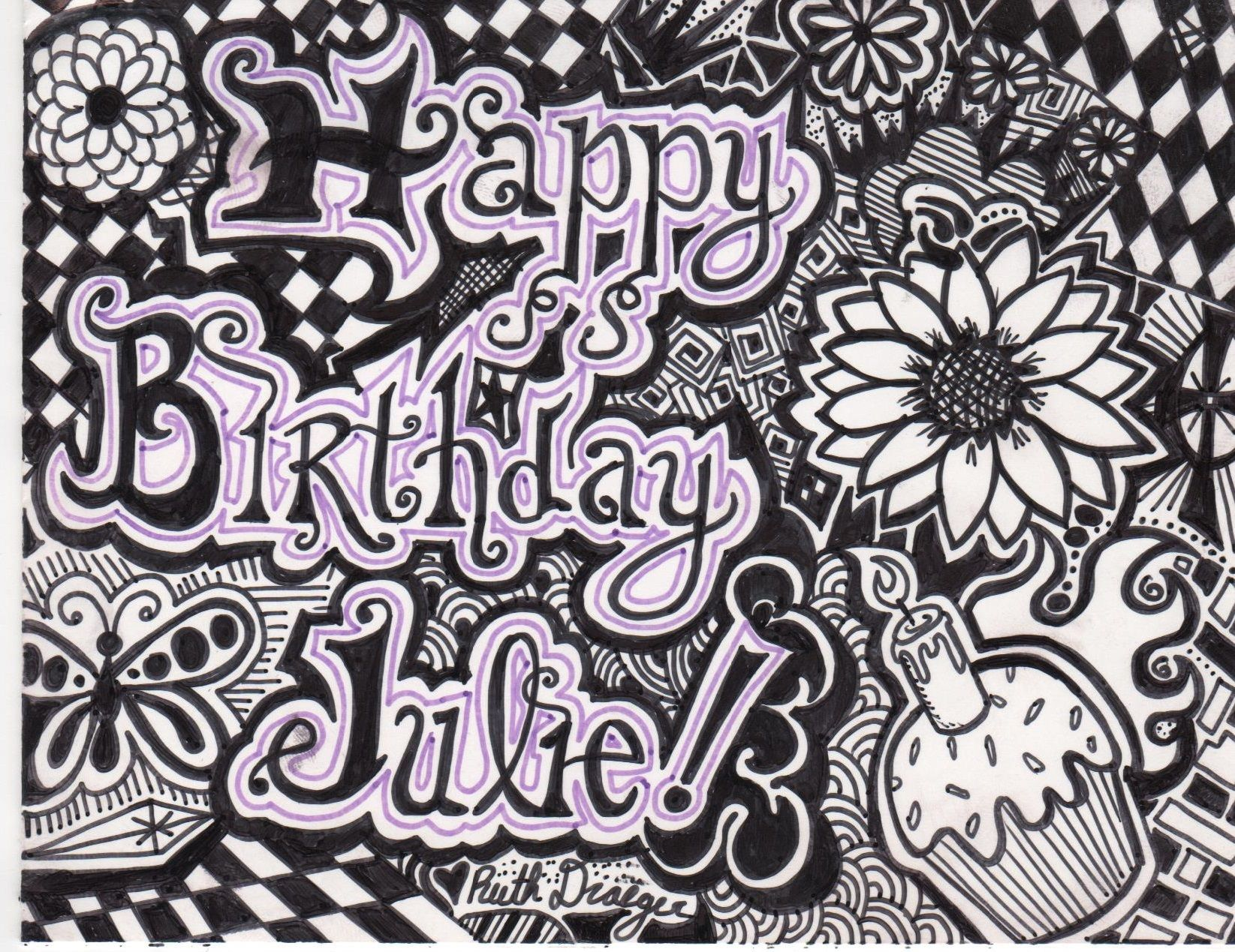 Birthday card for my sister in law julie hand drawn in sharpie