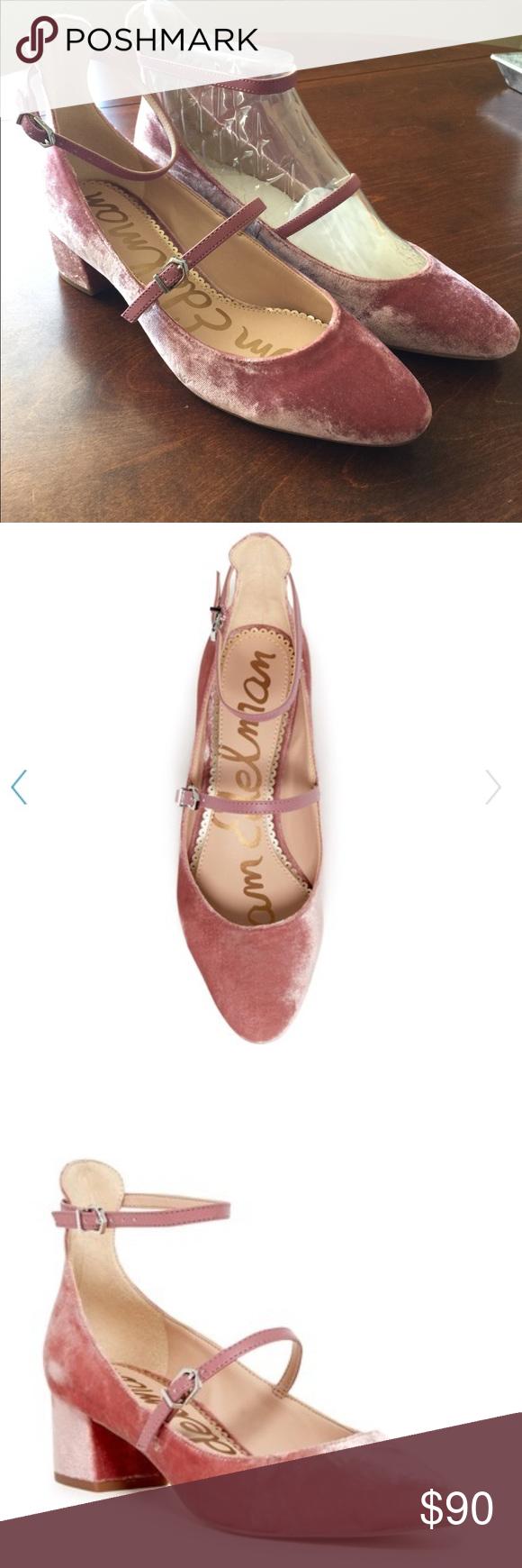 "cc0229b8b62e Sam Edelman Lulie Velvet Ankle Strap Pump NWT 1.75"" inch heel. Blush velvet.  New in box block strap heels. Adjustable straps. Almond toe."