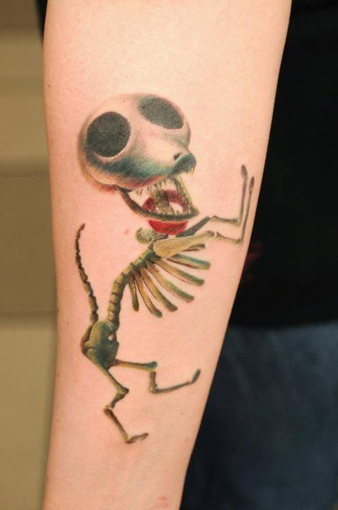Florian Karg Tattooed This Skeletal Dog From Tim Burtons The Corpse