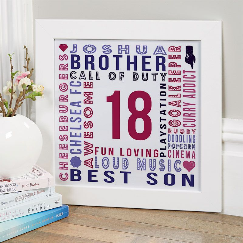 18th birthday gift for boys of personalised age square