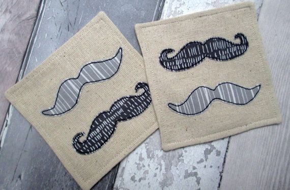 Funky Moustache Drinks Coasters Fabric by ...