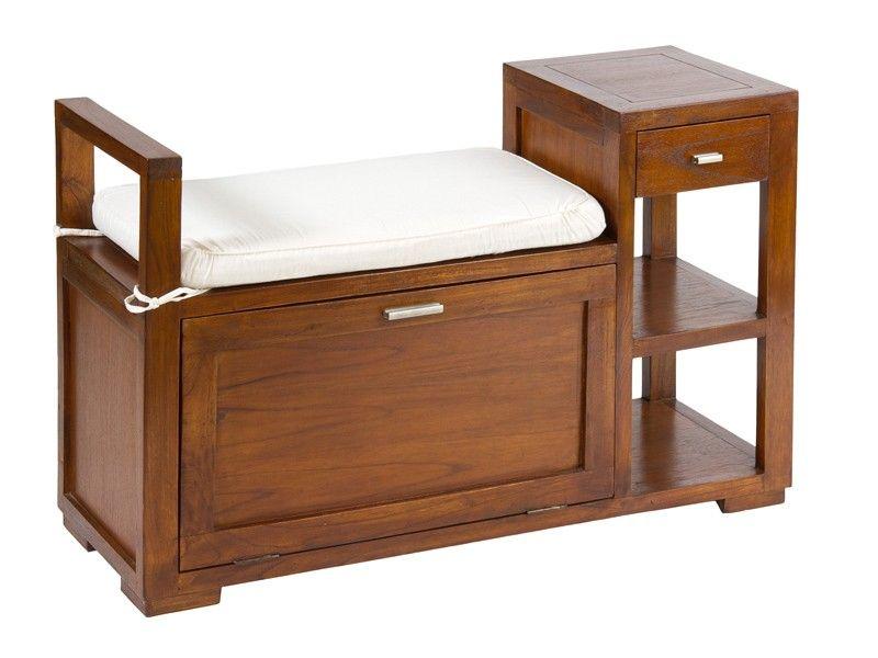 Comprar banco baúl de madera con cajón y estantes a precio de ...