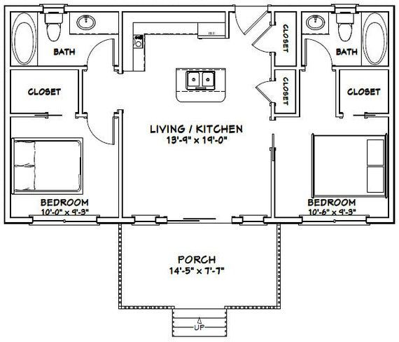 36x20 House 2 Bedroom 2 Bath 720 Sq Ft Pdf Floor Plan Instant Download Model 2a Cottage Floor Plans Tiny House Floor Plans Cabin Floor Plans