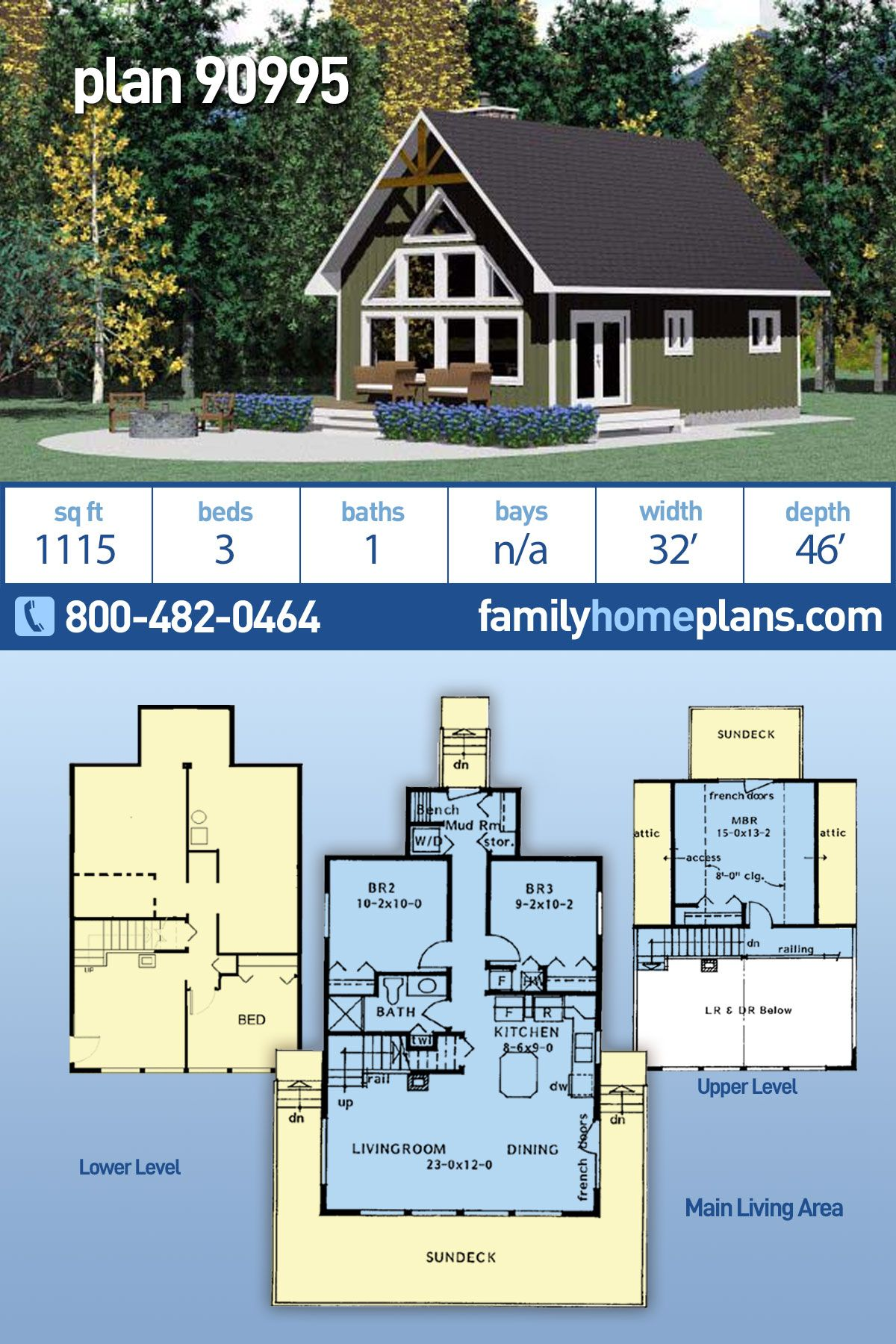 Cabin, Contemporary, Cottage House Plan 90995 with 3 Beds, 1 Baths