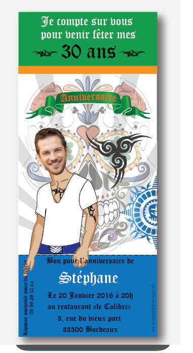 Invitation Anniversaire Homme Tatouage Man A Personnaliser Avec