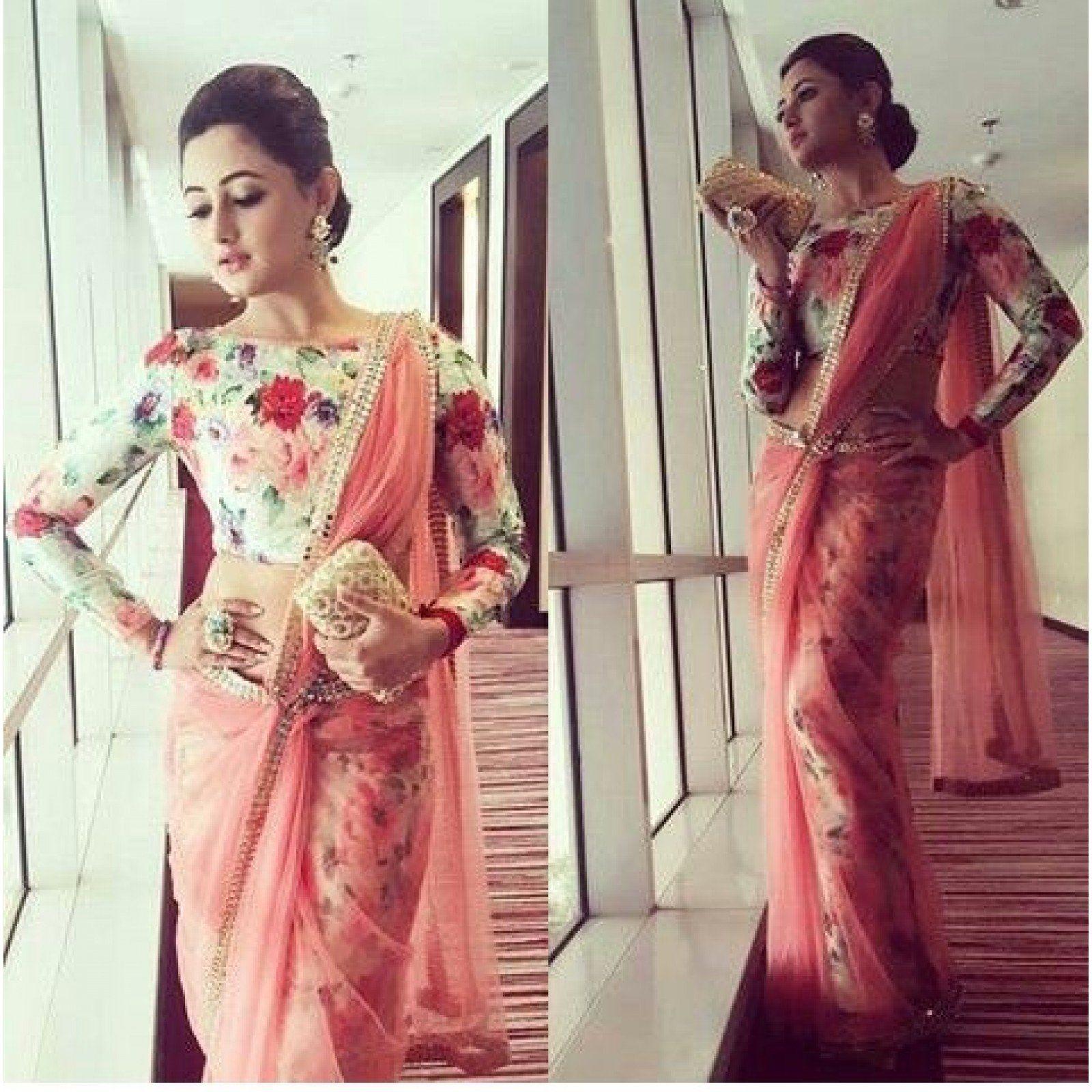 Bollywood Rashmi Desai Peach Net Saree (Peach)   Elegant saree, Blouse  design models, Indian attire