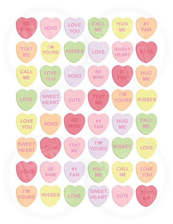 Instant Download Sweethearts Candy Clip Art Conversation Hearts Clipart Royalty Free Vintage Valentine Cards Valentine Stickers Sweetheart Candy