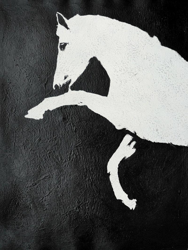 Black And White Horse Painting Minimalist Art By CelineZiangArt