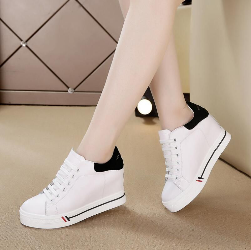 College Womens Sneakers Platform Creeper Shoes Low Heels Lace Canvas Trainers sz